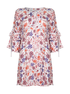 Yumi Floral Vine Print Tunic Dress- White
