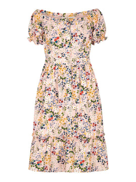 Yumi Floral Bardot Midi Dress- Light Pink