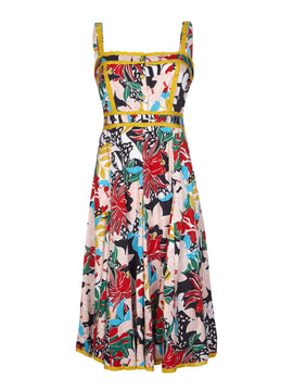 Yumi Botanical Lace Midi Dress- Multi-Coloured