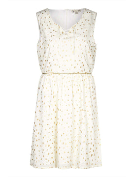 Yumi Foil Printed Lace-Up Dress- White