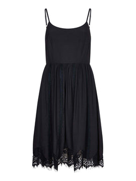 Yumi Floral Lace Trim Dress- Black
