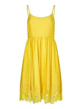Yumi Floral Lace Trim Dress- Yellow