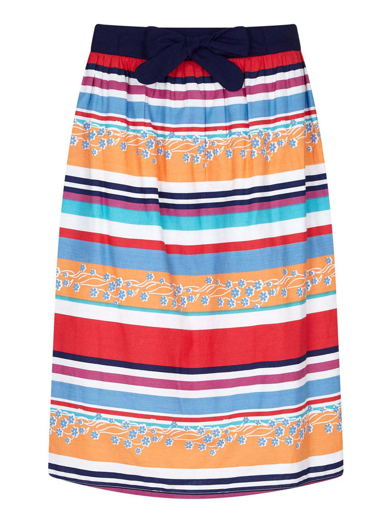 Yumi Vacation Stripe And Floral Skirt- Multi-Coloured
