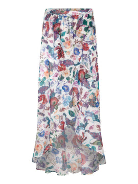 Yumi Underwater Flower Print Skirt- Multi-Coloured
