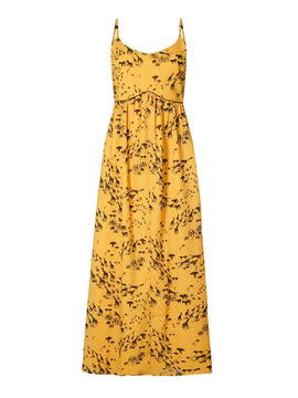 Yumi Giraffe Printed Maxi Dress- Yellow
