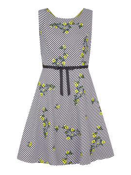 Yumi Flower Embroidered Gingham Dress- Black