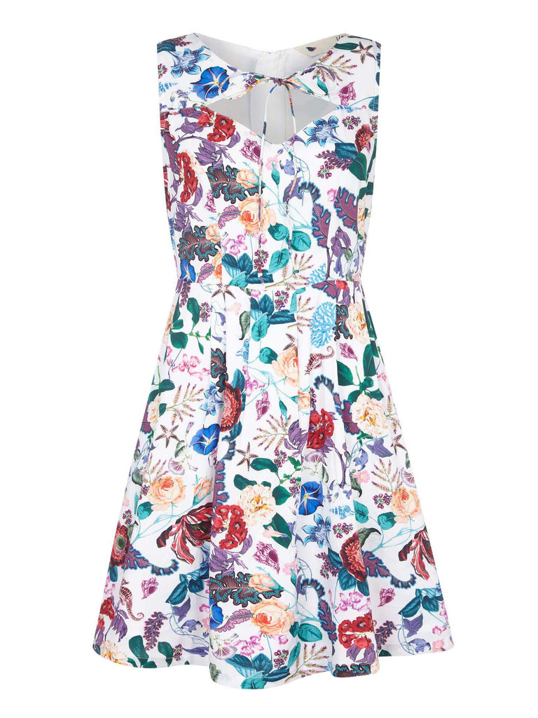 Yumi Underwater Floral Print Dress- Multi-Coloured