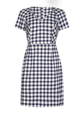 Yumi Stretch Gingham Dress- Dark Blue