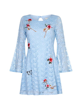 Yumi Corded Lace Swing Dress With Floral Appliques- Pale Blue