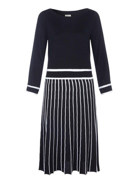 Yumi Pleated Skirt Knitted Dress- Black