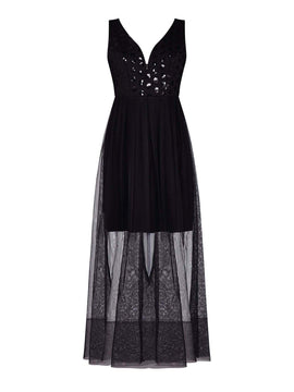 Mela London Netted Evening Maxi Dress With Sequins- Black