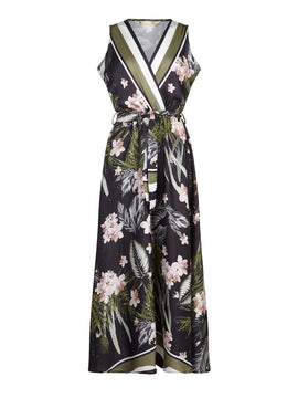 Yumi Oriental Print Maxi Dress- Black