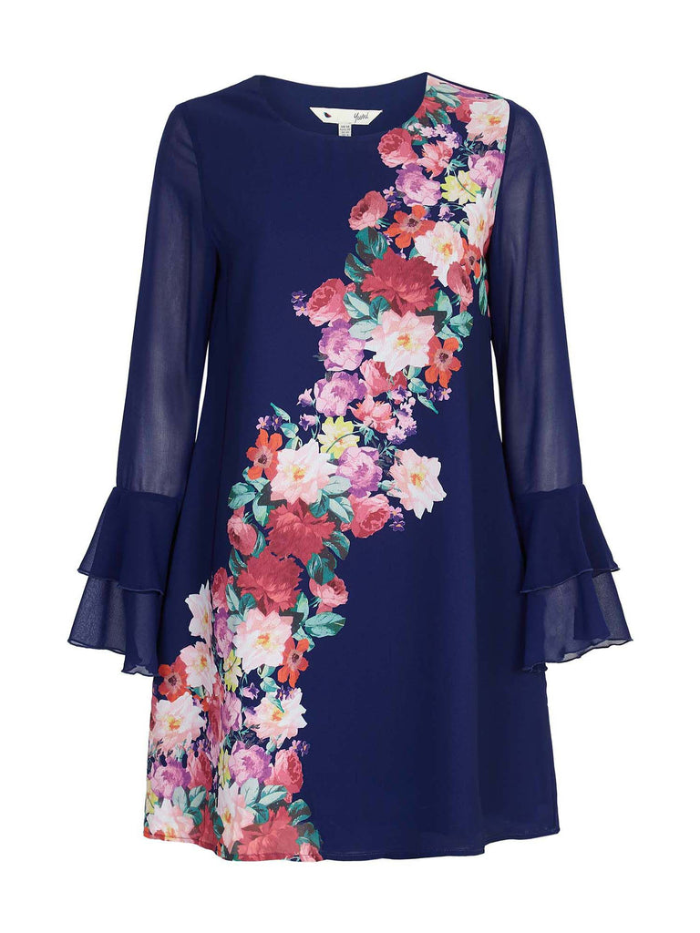 Yumi Foral WaterColour Tunic dress- Blue