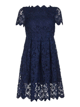 Yumi Curves Guipure Lace Dress- Dark Blue