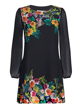Yumi Tropical Botanical Tunic Print Dress- Black