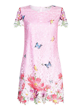 Yumi Butterfly Print Broderie Shift Dress- Pink