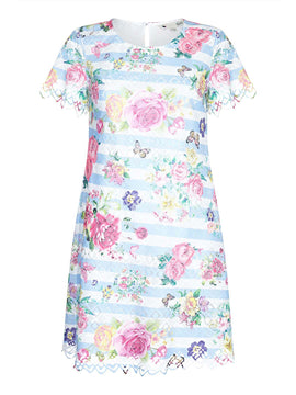 Yumi Floral print Lace Layer Shift dress- Blue