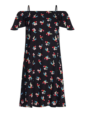 Yumi Parrot Print Cold Shoulder Dress- Black