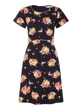 Yumi Floral Piping Detail Skater Dress- Black