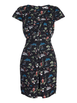Yumi Japanese Flower Print Dress- Black