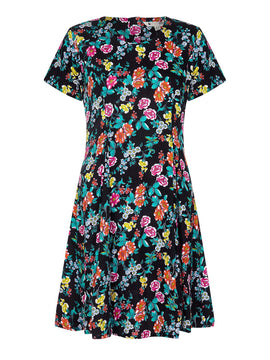 Yumi Ditsy Floral Print Skater Dress- Black