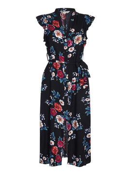 Yumi Japanese Print Midi Dress- Black
