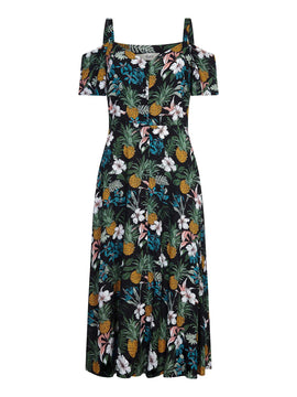Yumi Tropical Print Dress- Black