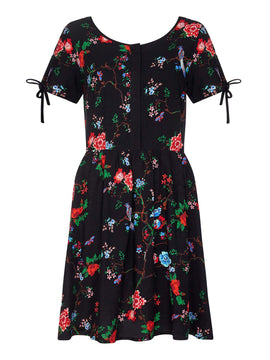 Yumi Floral Print Day Dress- Black