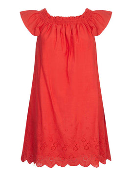 Yumi Ruched Collar Embroidered Shift Dress- Red