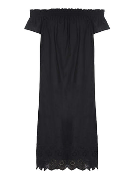 Yumi Ruched Collar Embroidered Shift Dress- Black