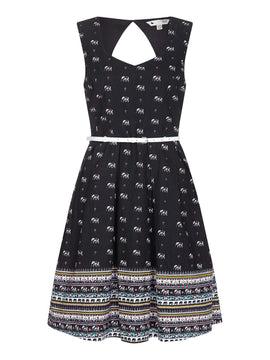 Yumi Elephant Print Fit And Flare Dress- Black