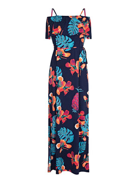 Yumi Tropical Print Frill Maxi Dress- Blue