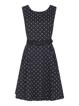Yumi Flamingo Print Fit And Flare Dress- Black