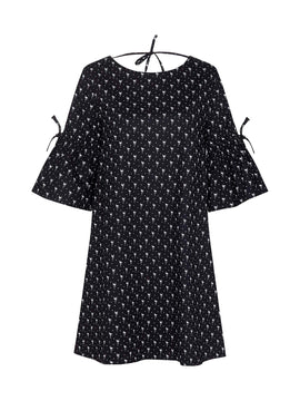 Yumi Flamingo Print Poplin Tunic Dress- Black