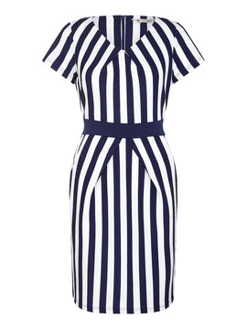 Yumi Striped Tulip Dress- Blue