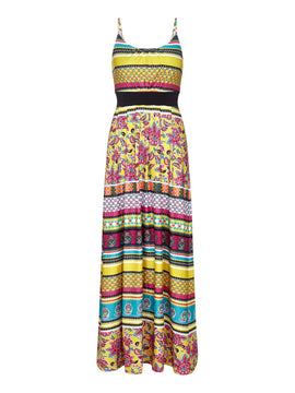 Yumi Bright Floral Print Maxi Dress- Yellow