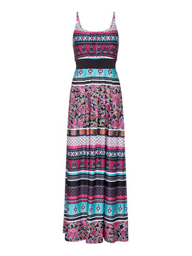 Yumi Striped Floral Tie Back Maxi Dress- Pink