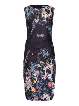Yumi Mirrored Floral Print Bodycon Dress- Black