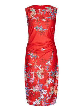 Yumi Mirrored Floral Print Bodycon Dress- Red