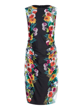 Yumi Tropical Floral Print Dress With Ruching- Black