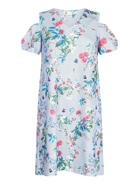 Yumi Pinstripe Floral Cold Shoulder Dress- Blue