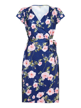 Yumi Rose Print Wrap Dress- Multi-Coloured