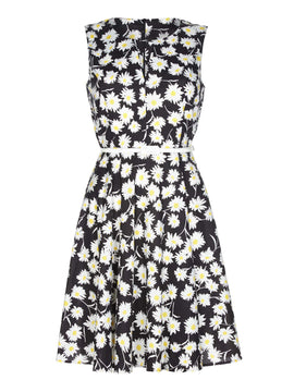 Yumi Cut Out Daisy Print Skater Dress- Black