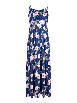 Yumi Curves Digital Rose Print Maxi Dress- Multi-Coloured