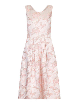 Yumi Textured Jacquard Dress- Pink