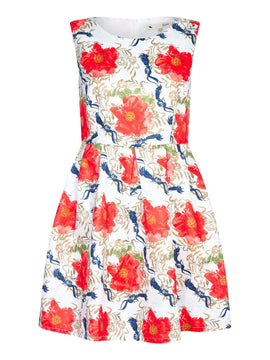 Yumi Jaquard Floral Print Dress- Multi-Coloured
