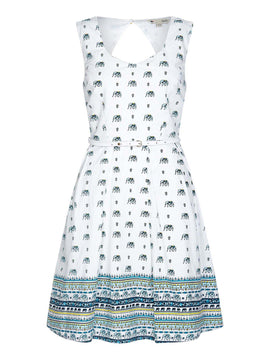 Yumi Elephant Print Fit And Flare Dress- White