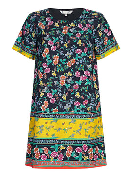 Yumi Striped Floral Print Tunic Dress- Multi-Coloured