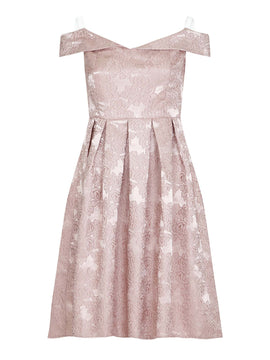Mela London Jacquard Bardot Prom Dress- Rose Gold
