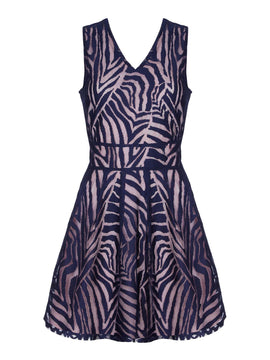 Yumi Stripe Mesh Skater Dress- Blue